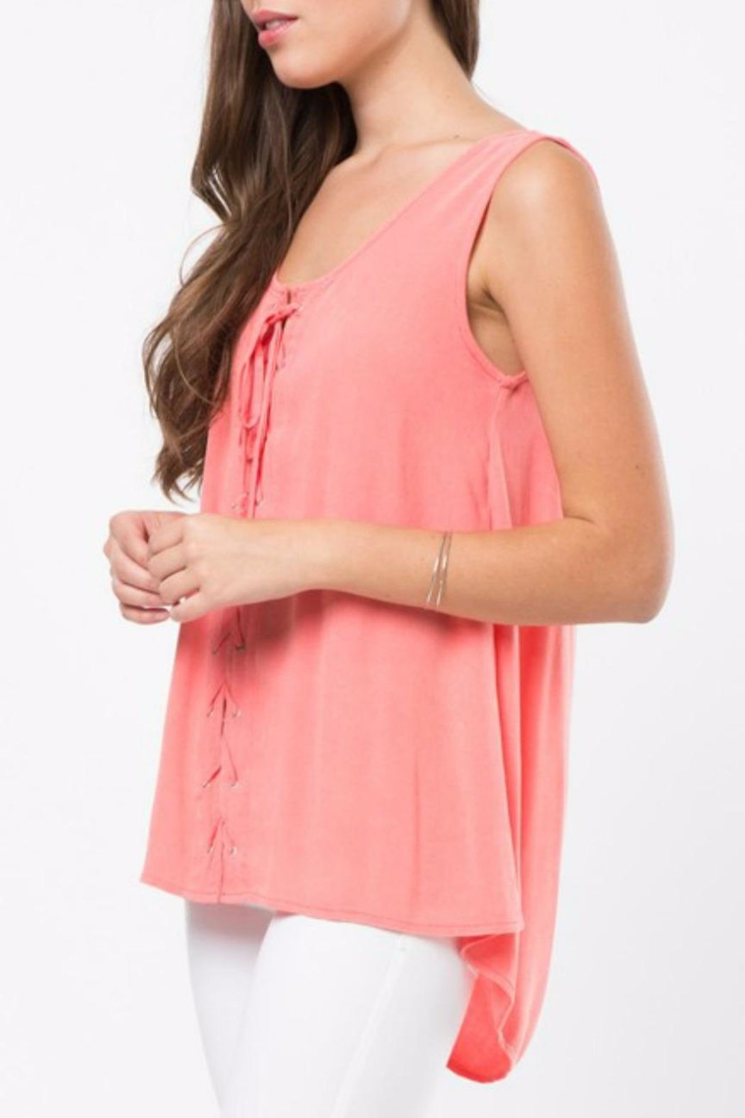 LoveRiche Lace Up Tank - Front Full Image
