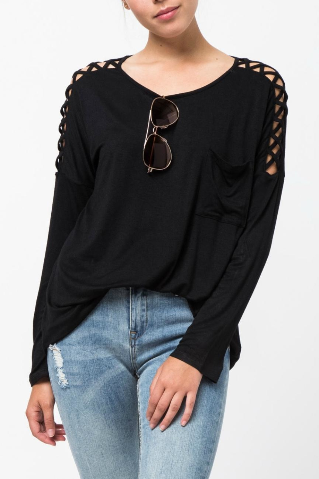 LoveRiche Lattice Sleeve Tee - Front Cropped Image