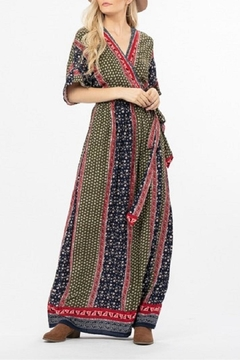 LoveRiche Mixed-Print Wrap Maxi-Dress - Product List Image