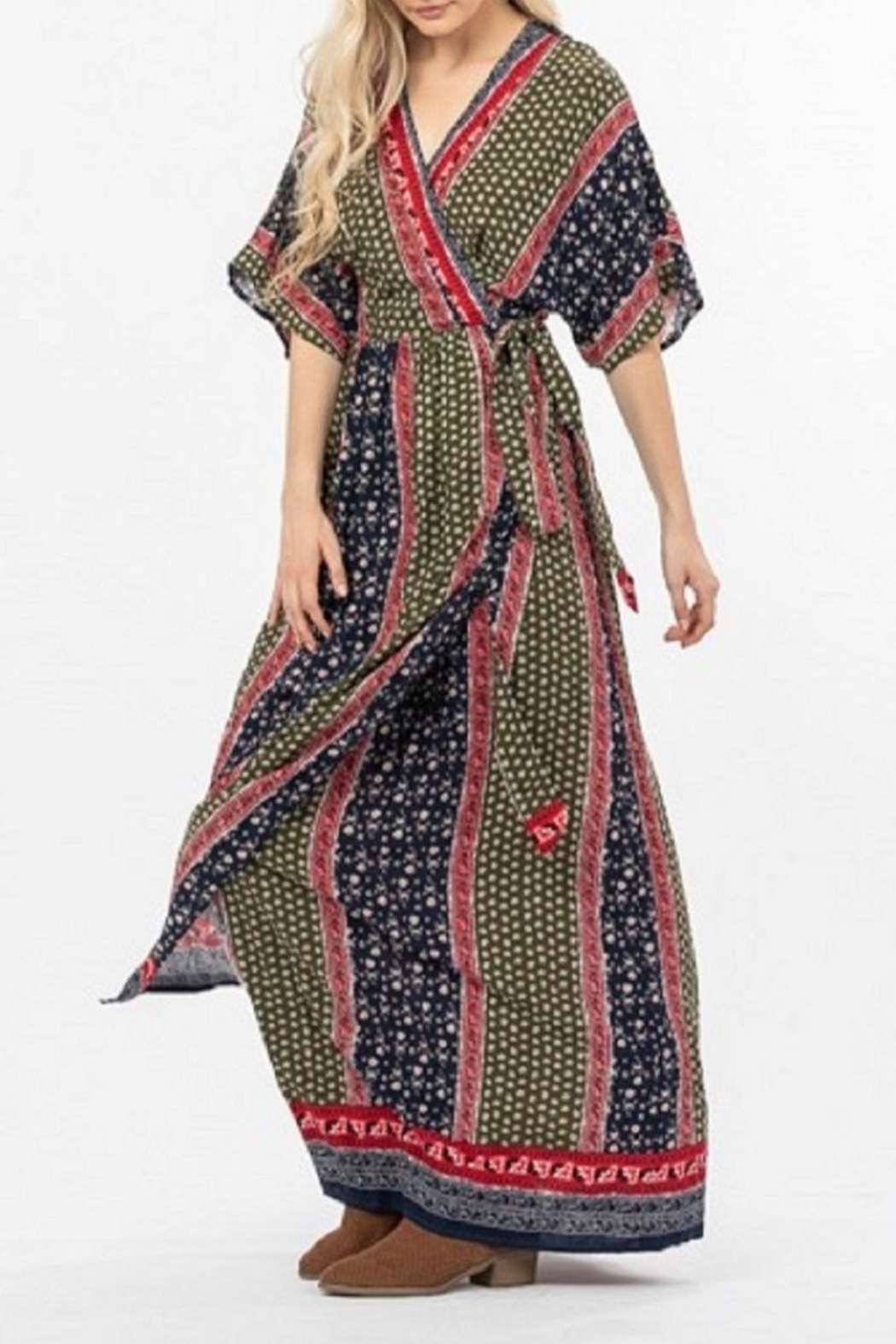 LoveRiche Mixed-Print Wrap Maxi-Dress - Front Full Image