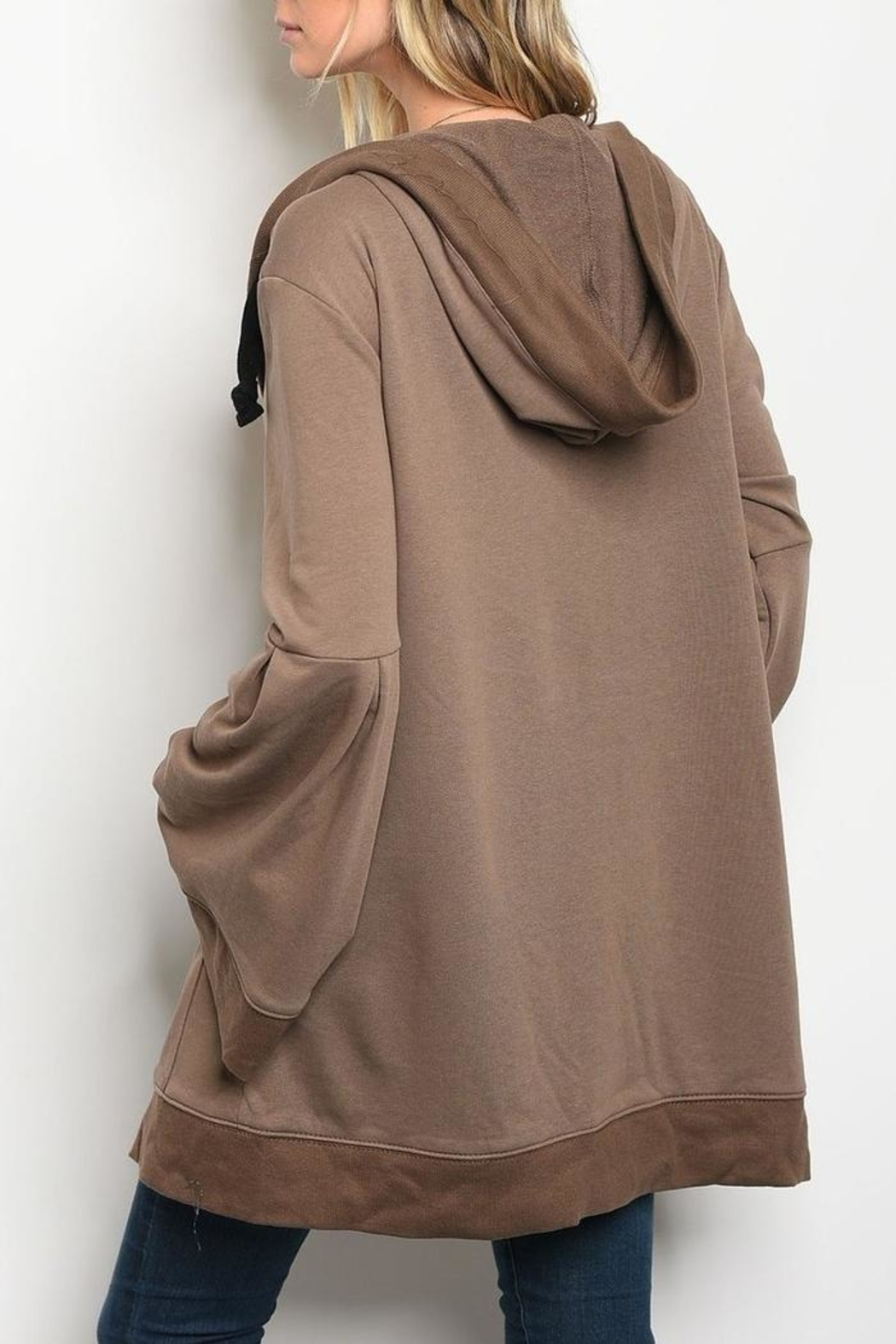 LoveRiche Mocha Hooded Cardigan - Front Full Image