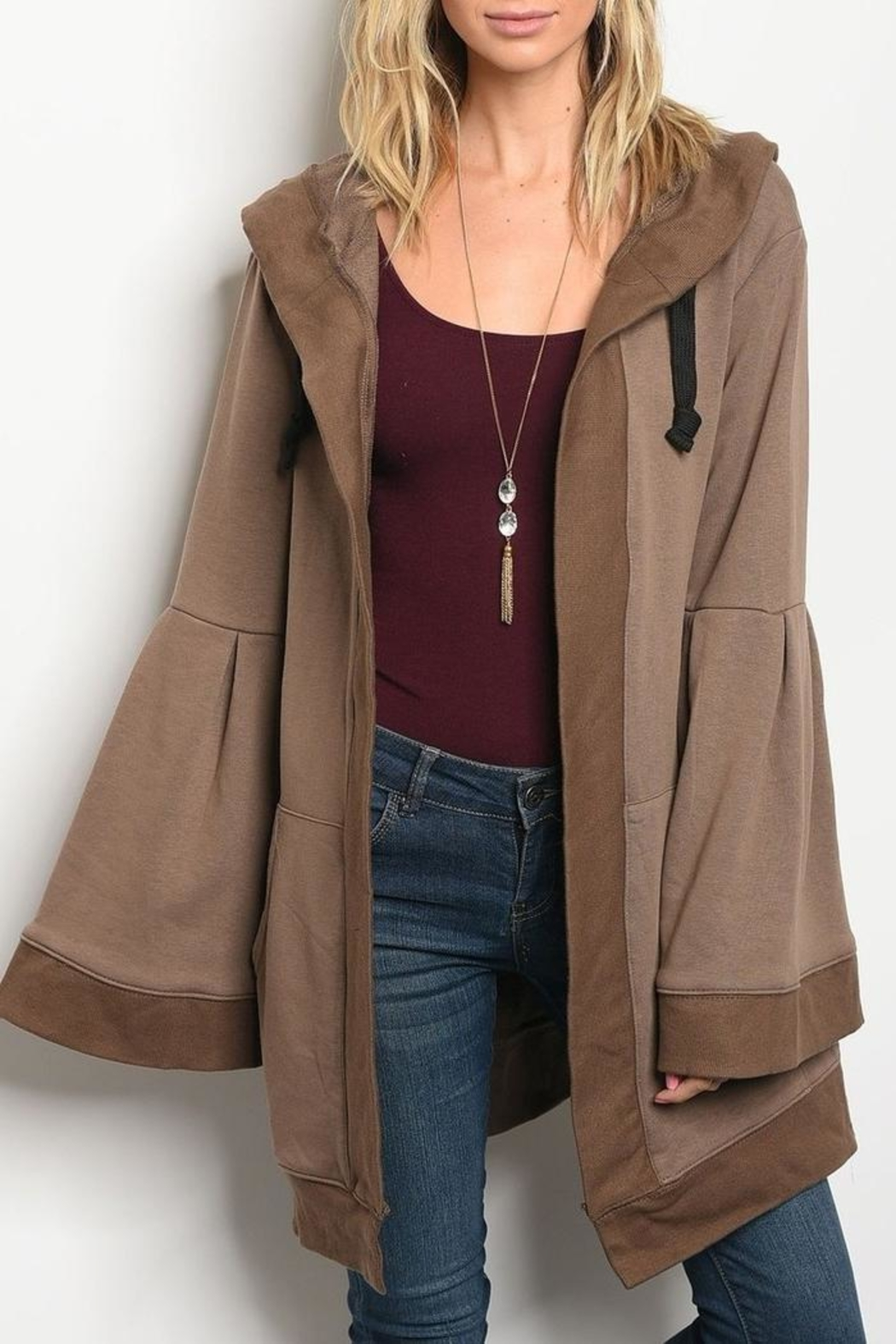 LoveRiche Mocha Hooded Cardigan - Main Image