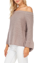 LoveRiche Taupe Off Shoulder Sweater - Front cropped
