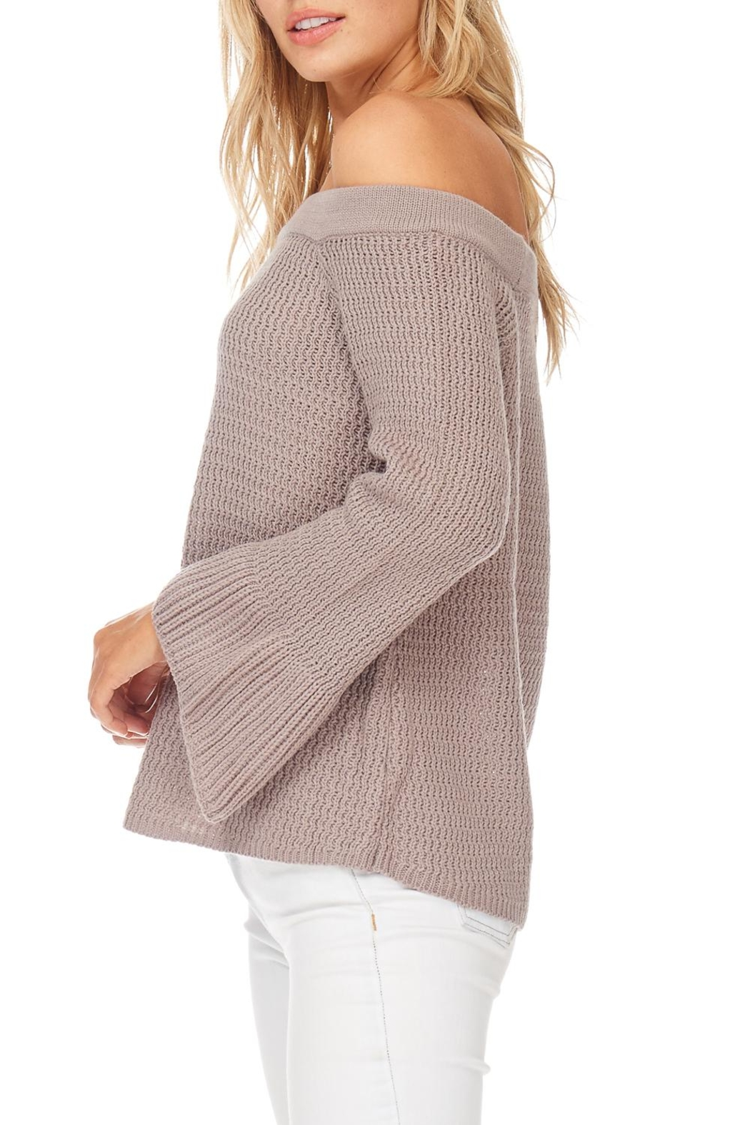 LoveRiche Taupe Off Shoulder Sweater - Side Cropped Image