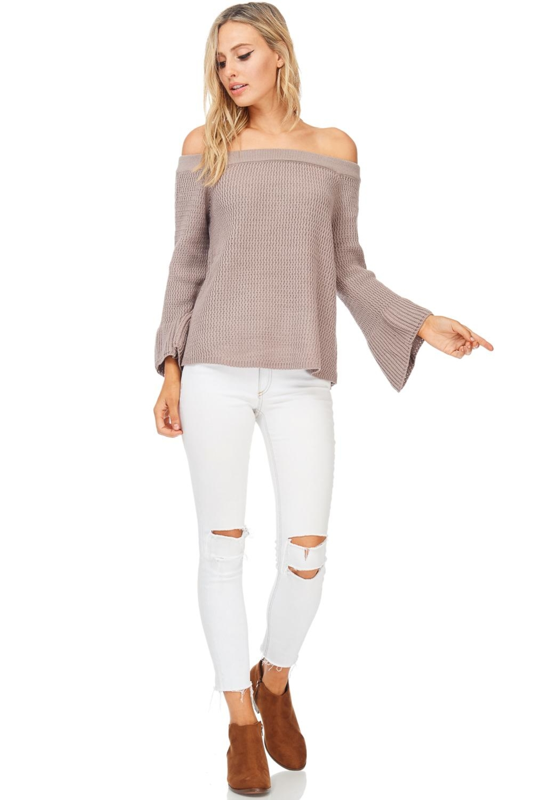 LoveRiche Taupe Off Shoulder Sweater - Front Full Image