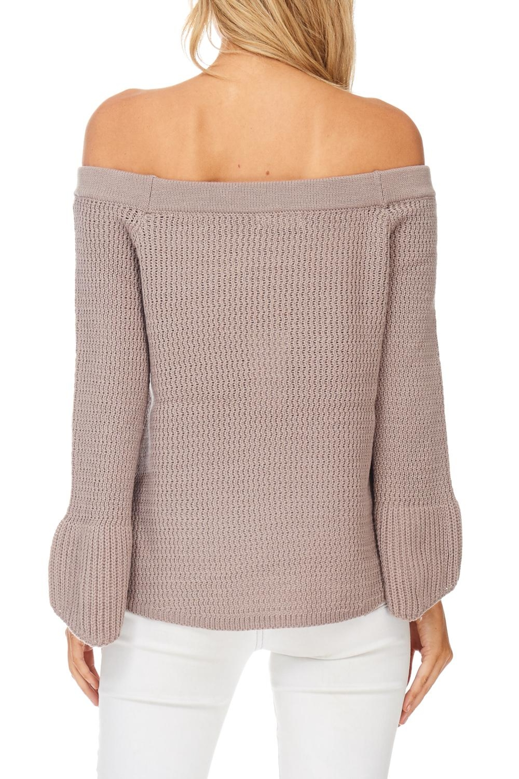LoveRiche Taupe Off Shoulder Sweater - Back Cropped Image