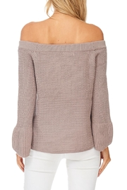 LoveRiche Taupe Off Shoulder Sweater - Back cropped