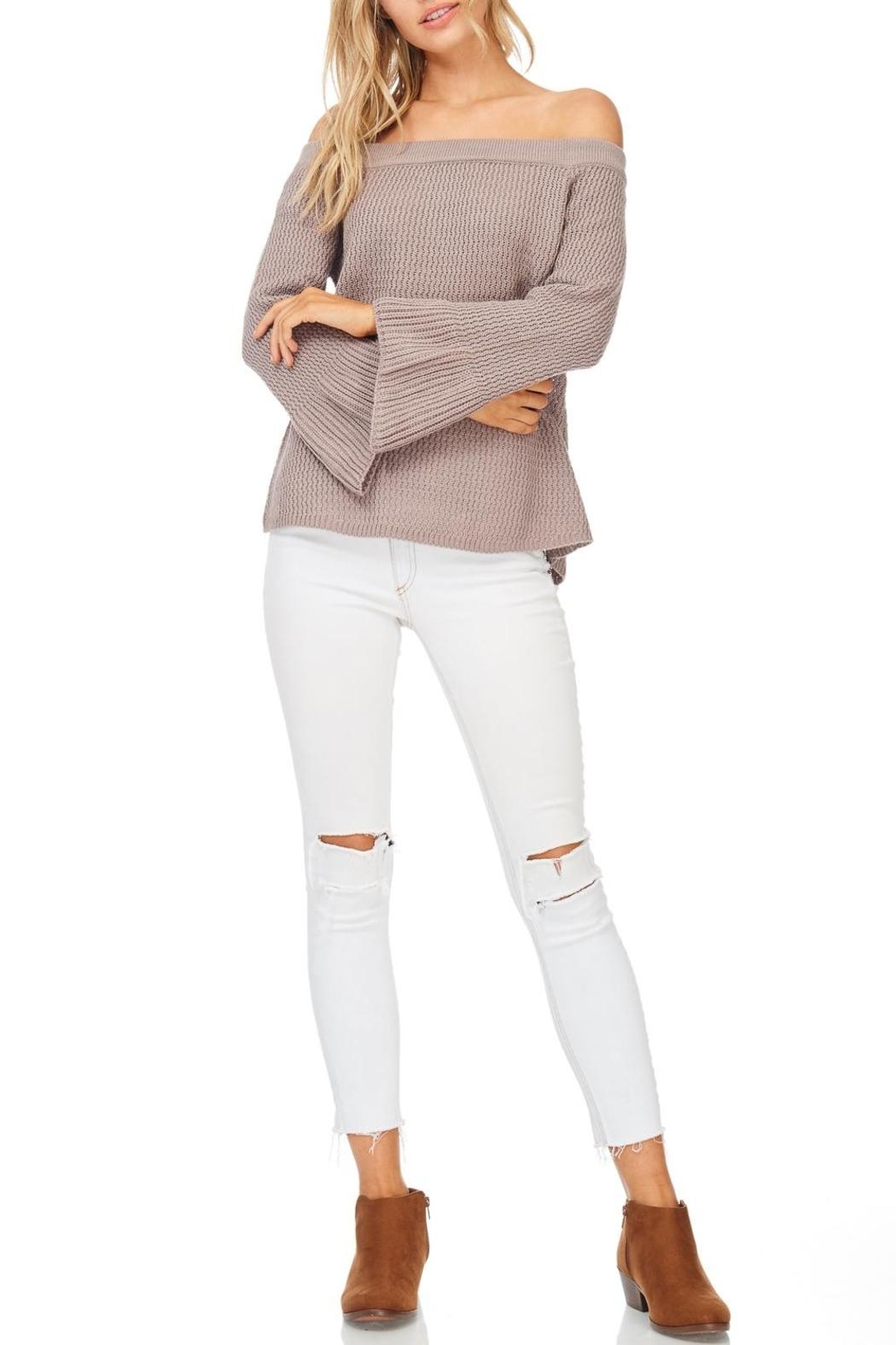 LoveRiche Mocha Off Shoulder Sweater - Main Image