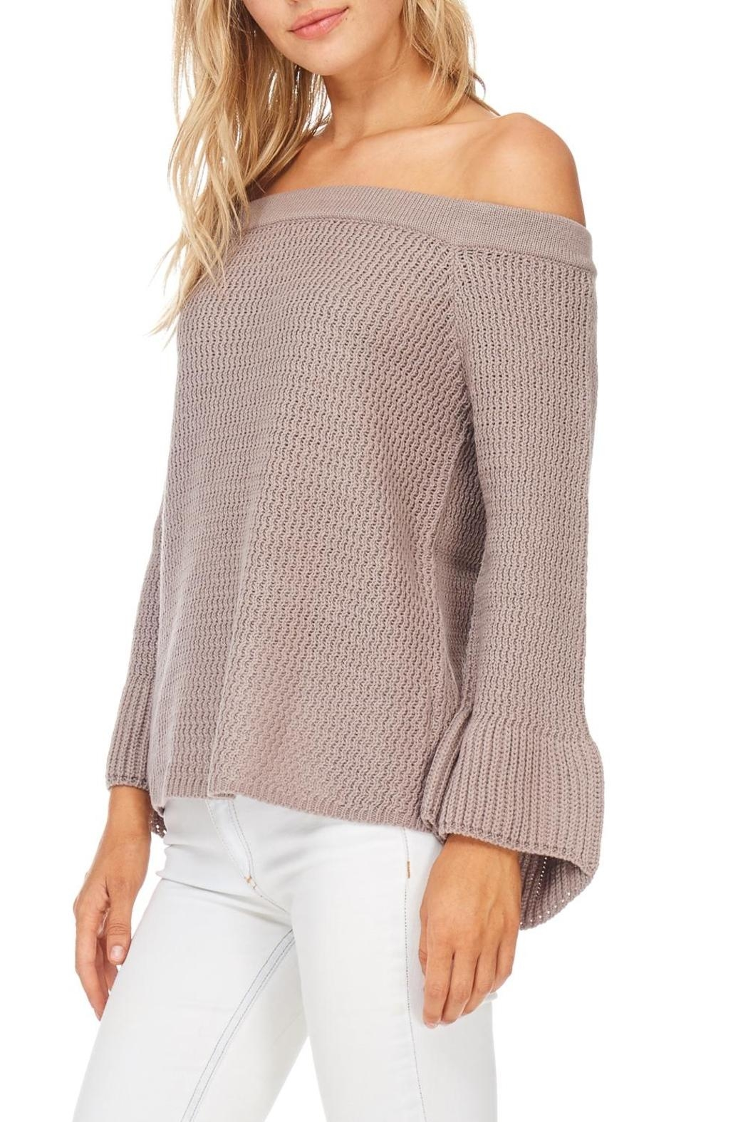 LoveRiche Mocha Off Shoulder Sweater - Front Full Image