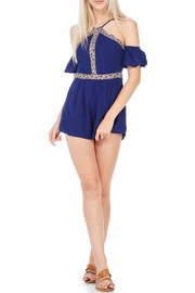 LoveRiche Navy Cold Shoulder Romper - Product Mini Image