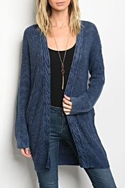 LoveRiche Navy Long Cardigan - Product Mini Image