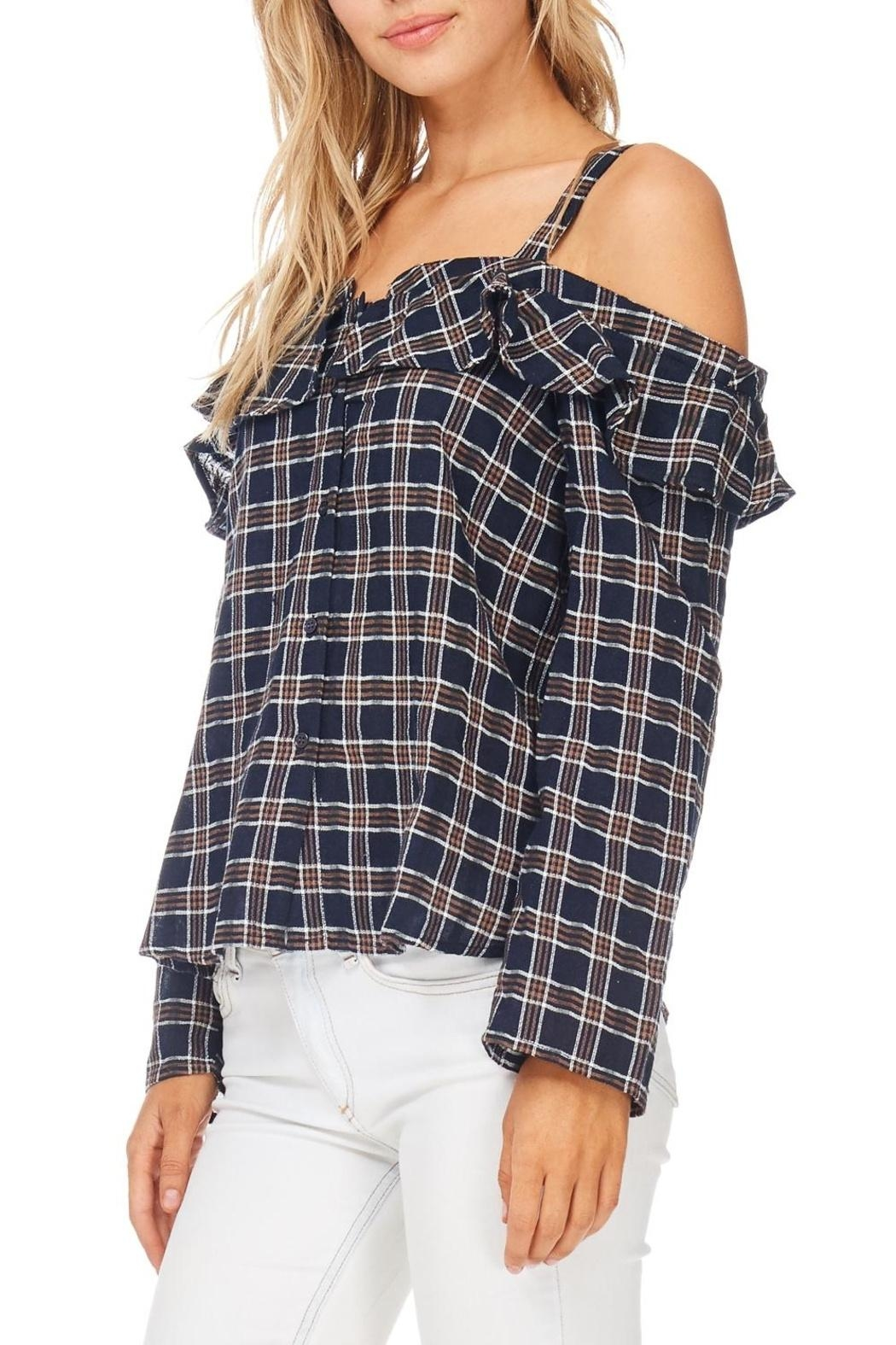 LoveRiche Plaid Cold Shoulder Top - Front Full Image