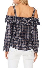 LoveRiche Plaid Cold Shoulder Top - Side cropped