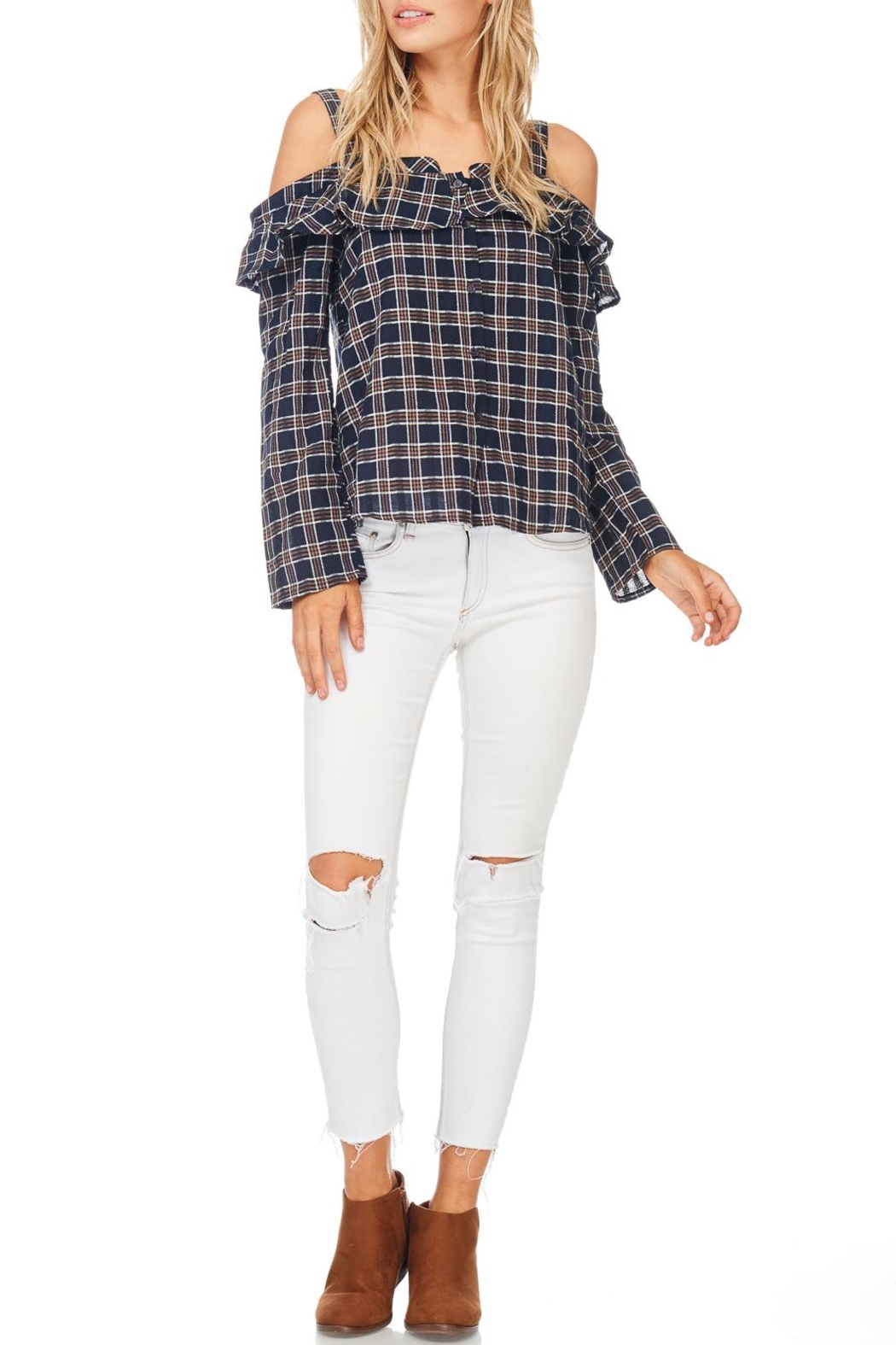 LoveRiche Plaid Cold Shoulder Top - Front Cropped Image