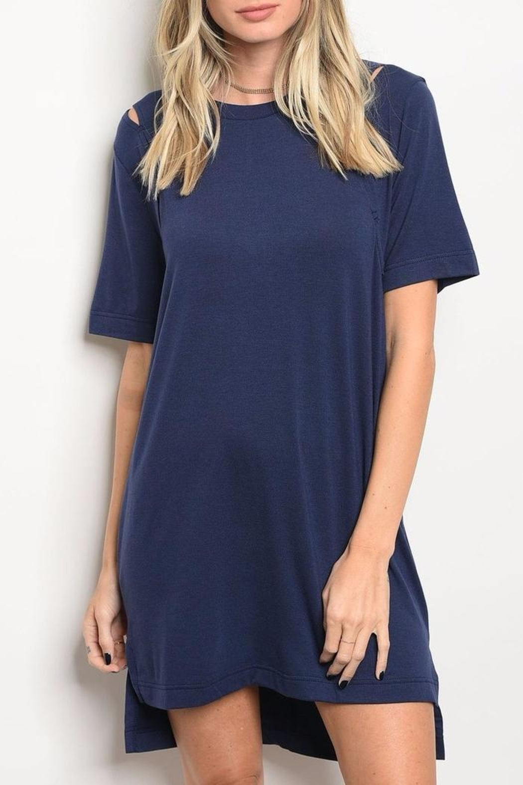 LoveRiche Navy T Shirt Dress - Front Cropped Image