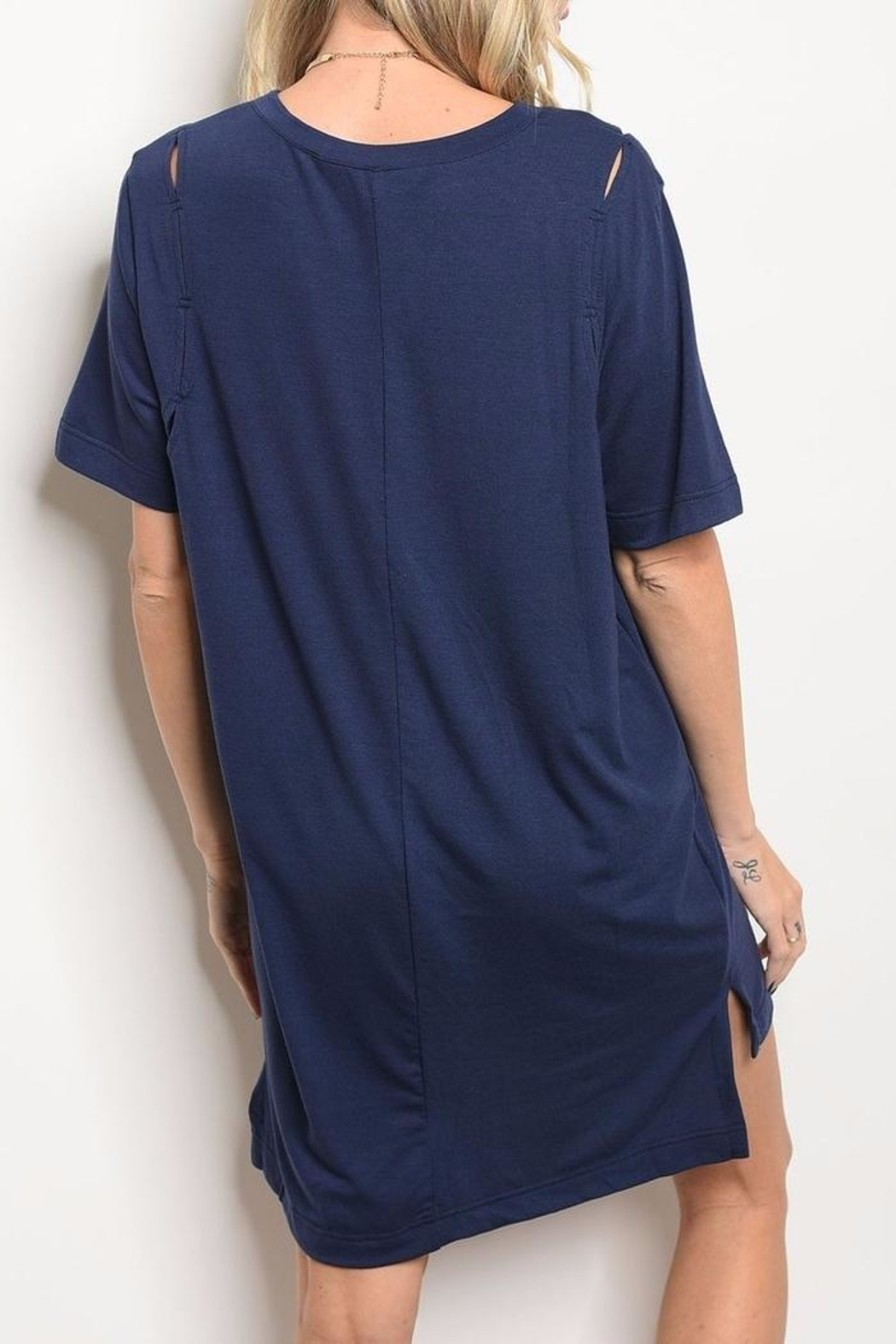 LoveRiche Navy T Shirt Dress - Front Full Image