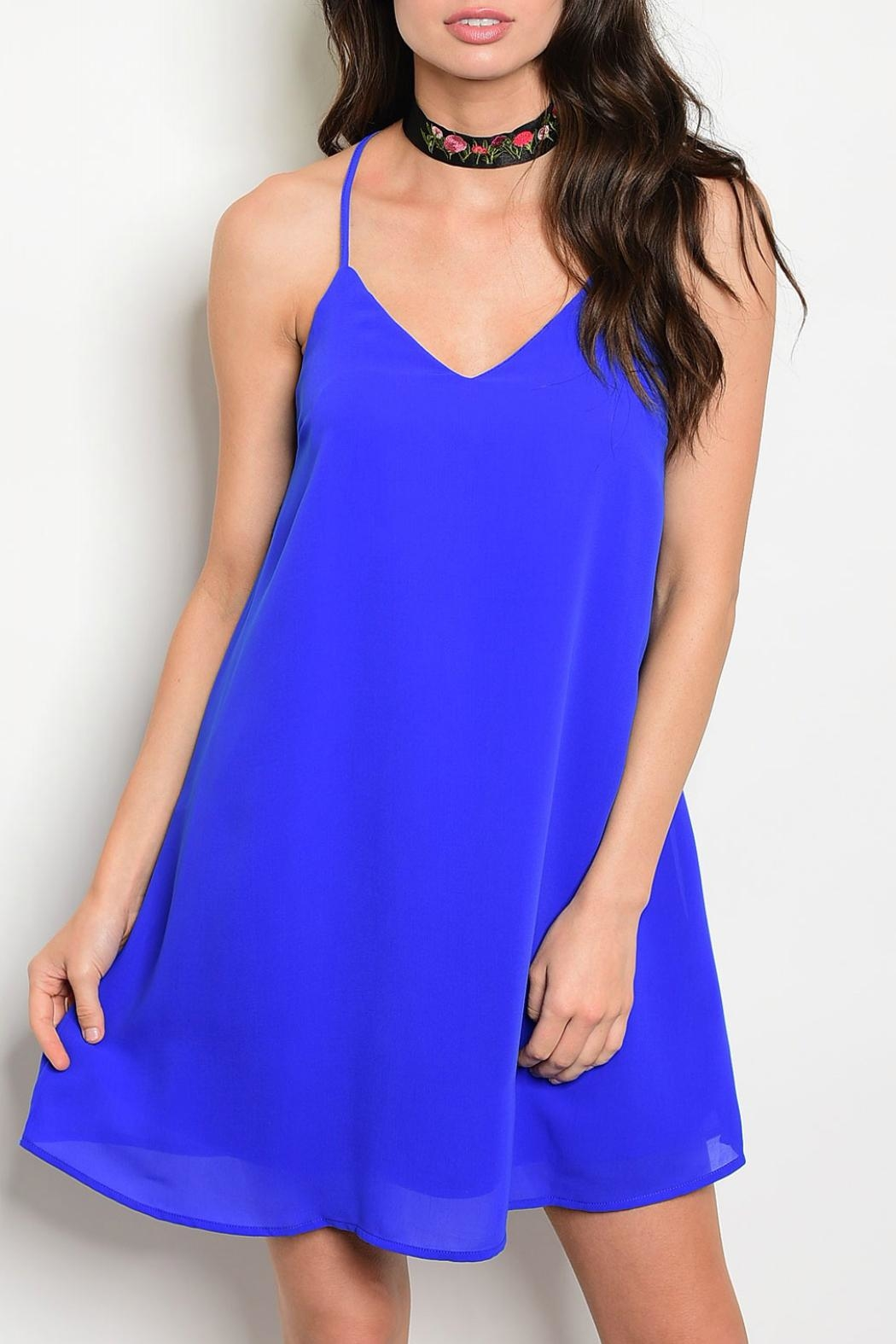 LoveRiche Open Back Shift Dress - Front Cropped Image