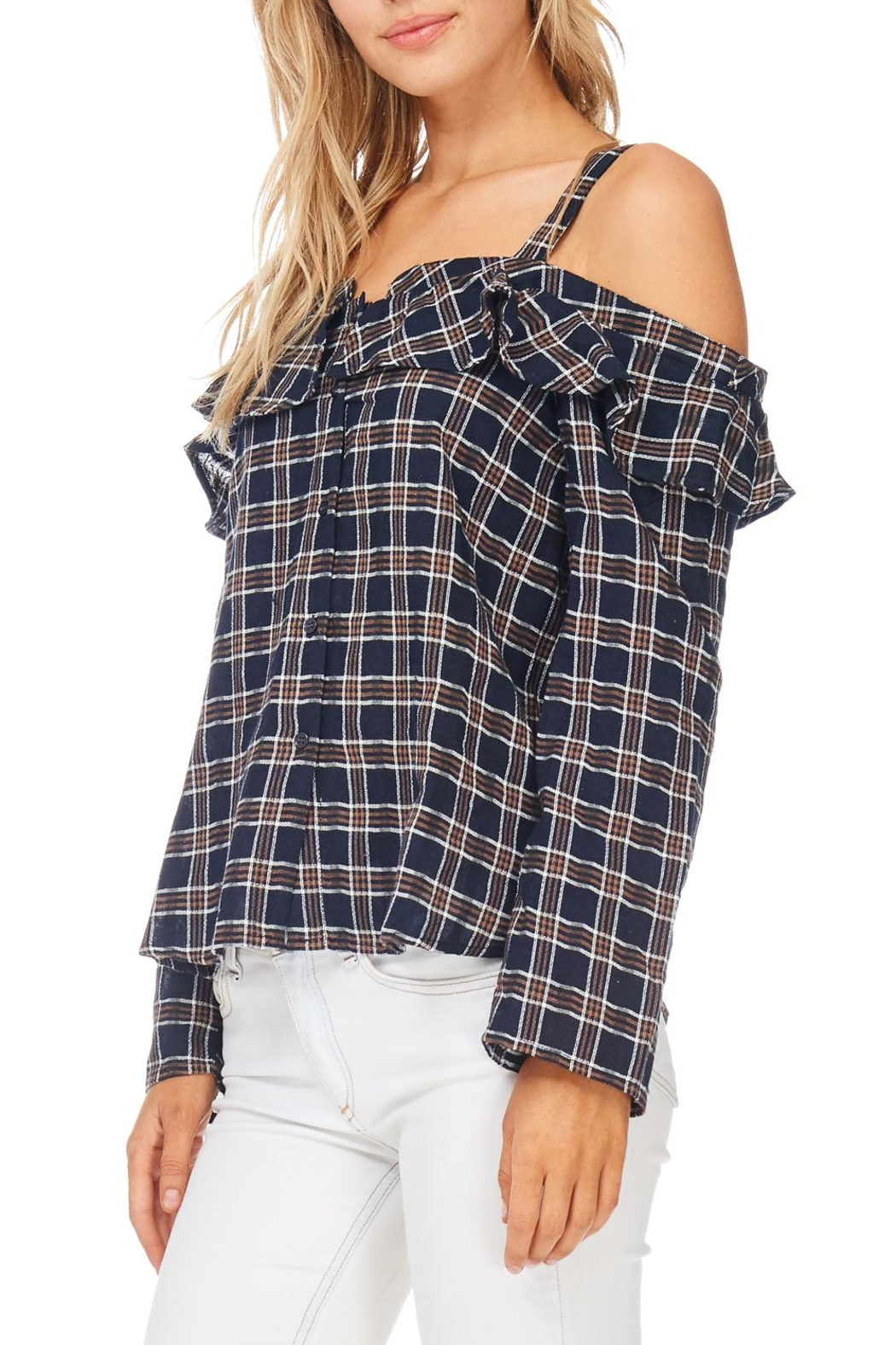 LoveRiche Plaid Ruffle Top - Side Cropped Image