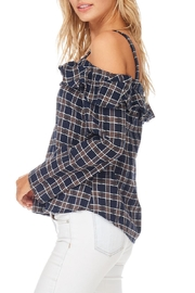 LoveRiche Plaid Cold Shoulder Top - Front full body
