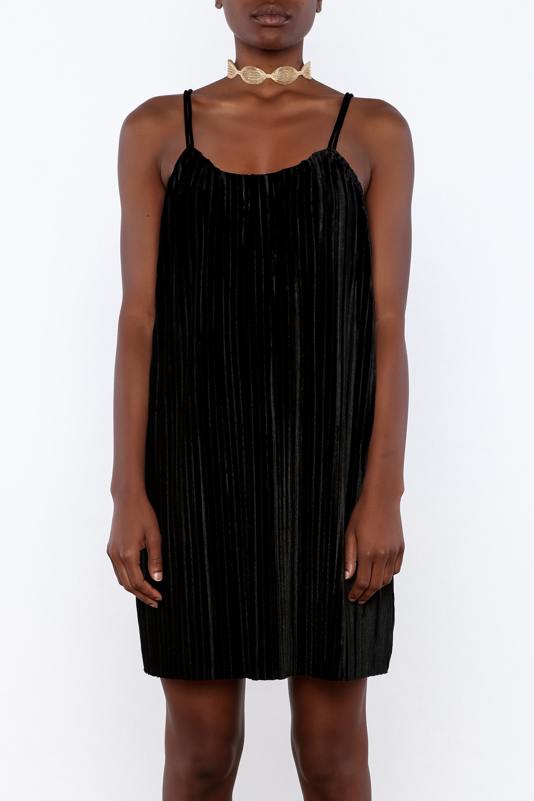 LoveRiche Pleated Velvet Dress - Side Cropped Image