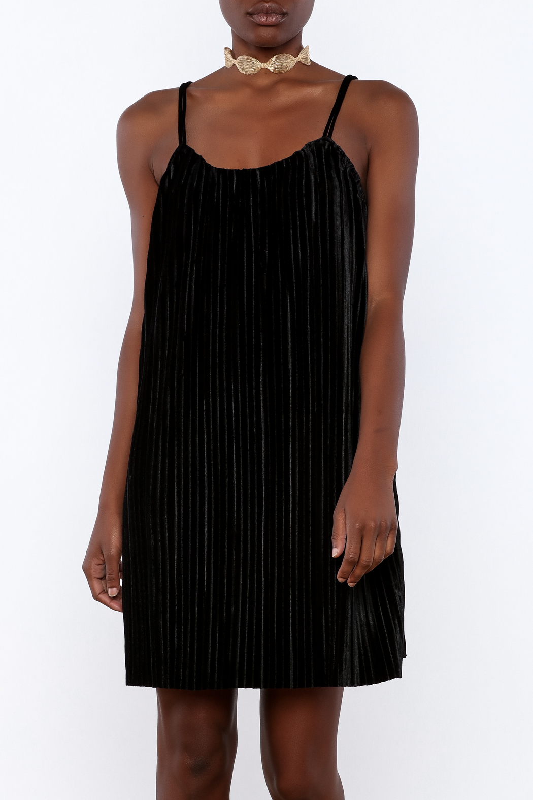 LoveRiche Pleated Velvet Dress - Front Cropped Image