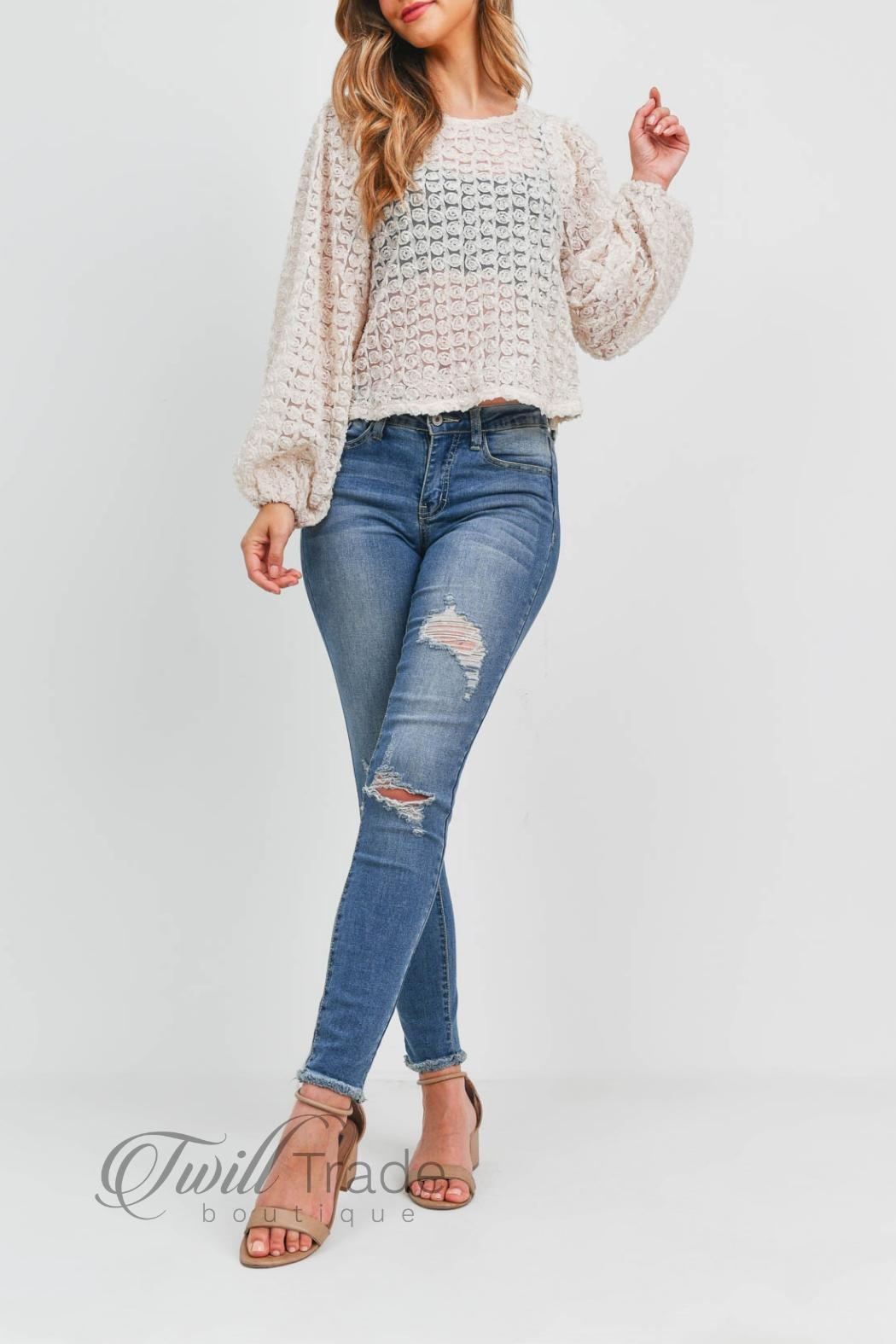 LoveRiche Puff Sleeve Top - Side Cropped Image
