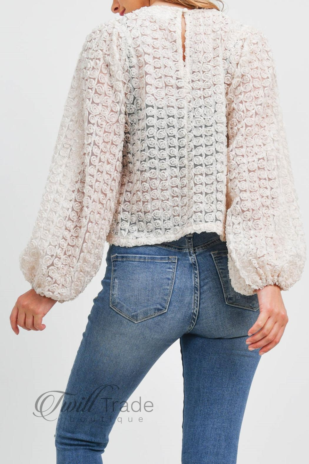 LoveRiche Puff Sleeve Top - Back Cropped Image