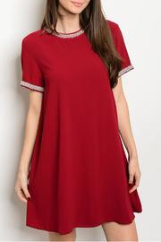 LoveRiche Red Beaded Dress - Front cropped