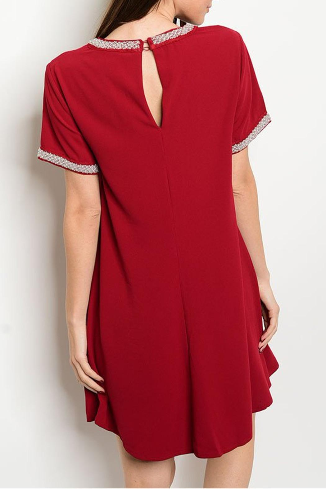 LoveRiche Red Beaded Dress - Front Full Image