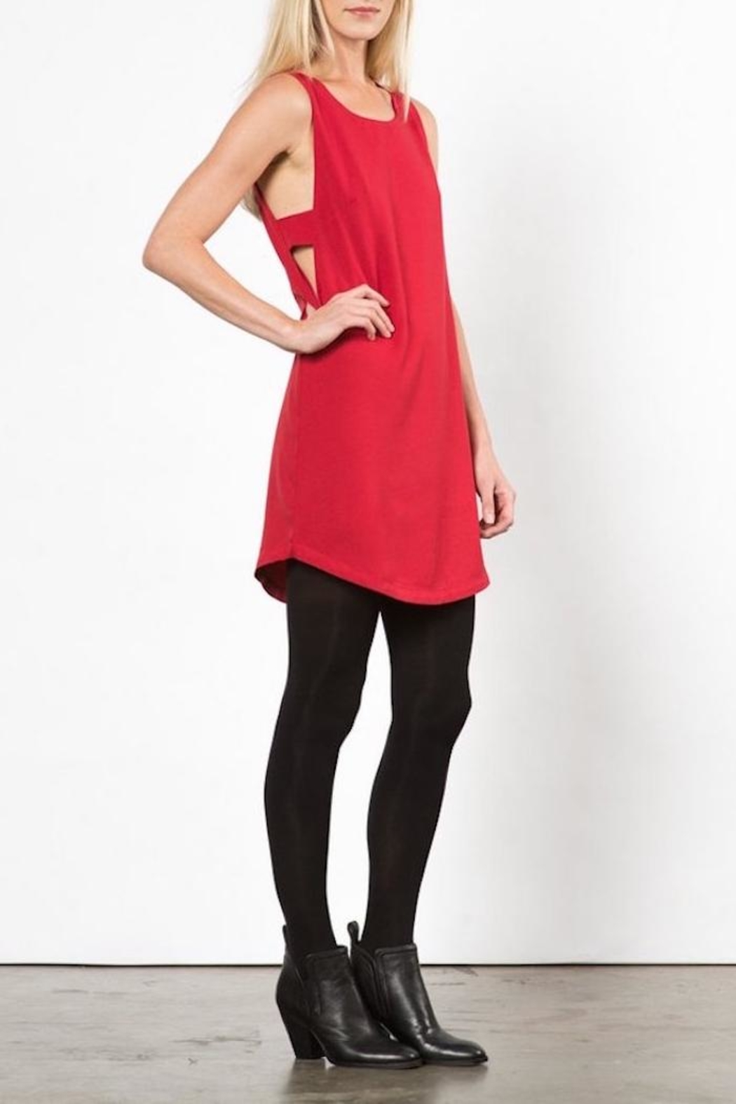 LoveRiche Red Pyramid Dress - Side Cropped Image