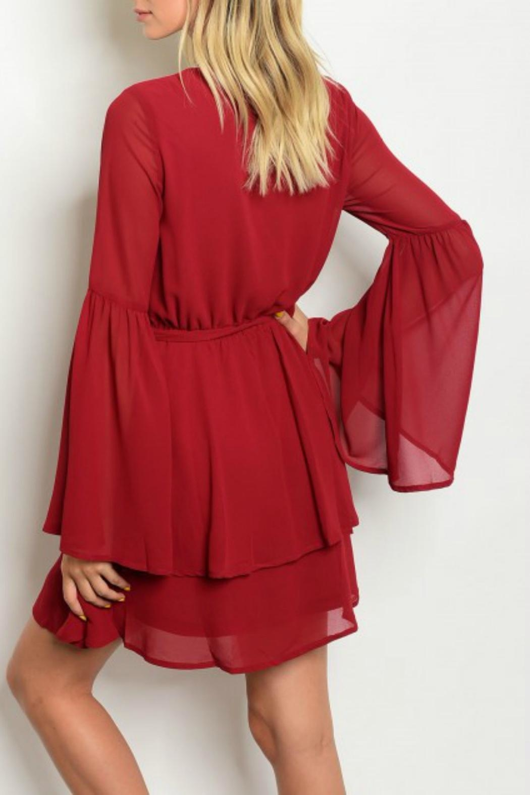 LoveRiche Red Ruffle Dress - Front Full Image