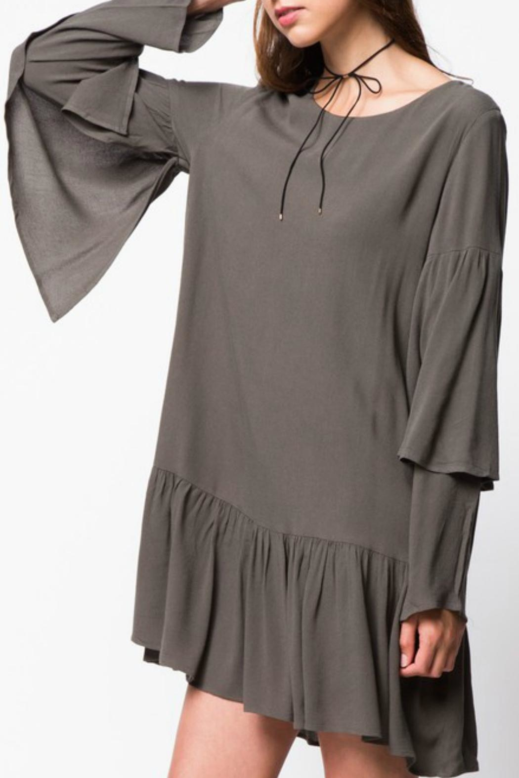 LoveRiche Ruffle Sleeve Dress - Front Full Image