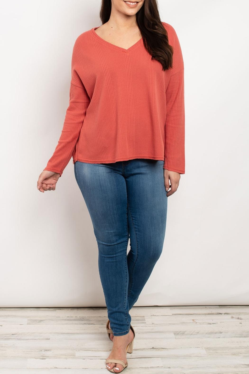 LoveRiche Rust V-Neck Top - Main Image