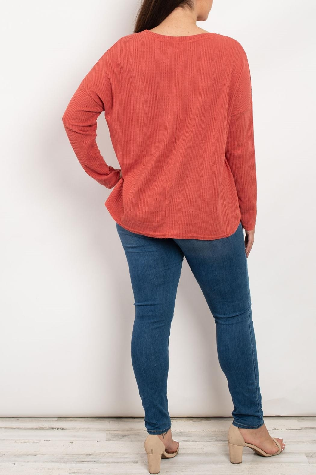 LoveRiche Rust V-Neck Top - Front Full Image