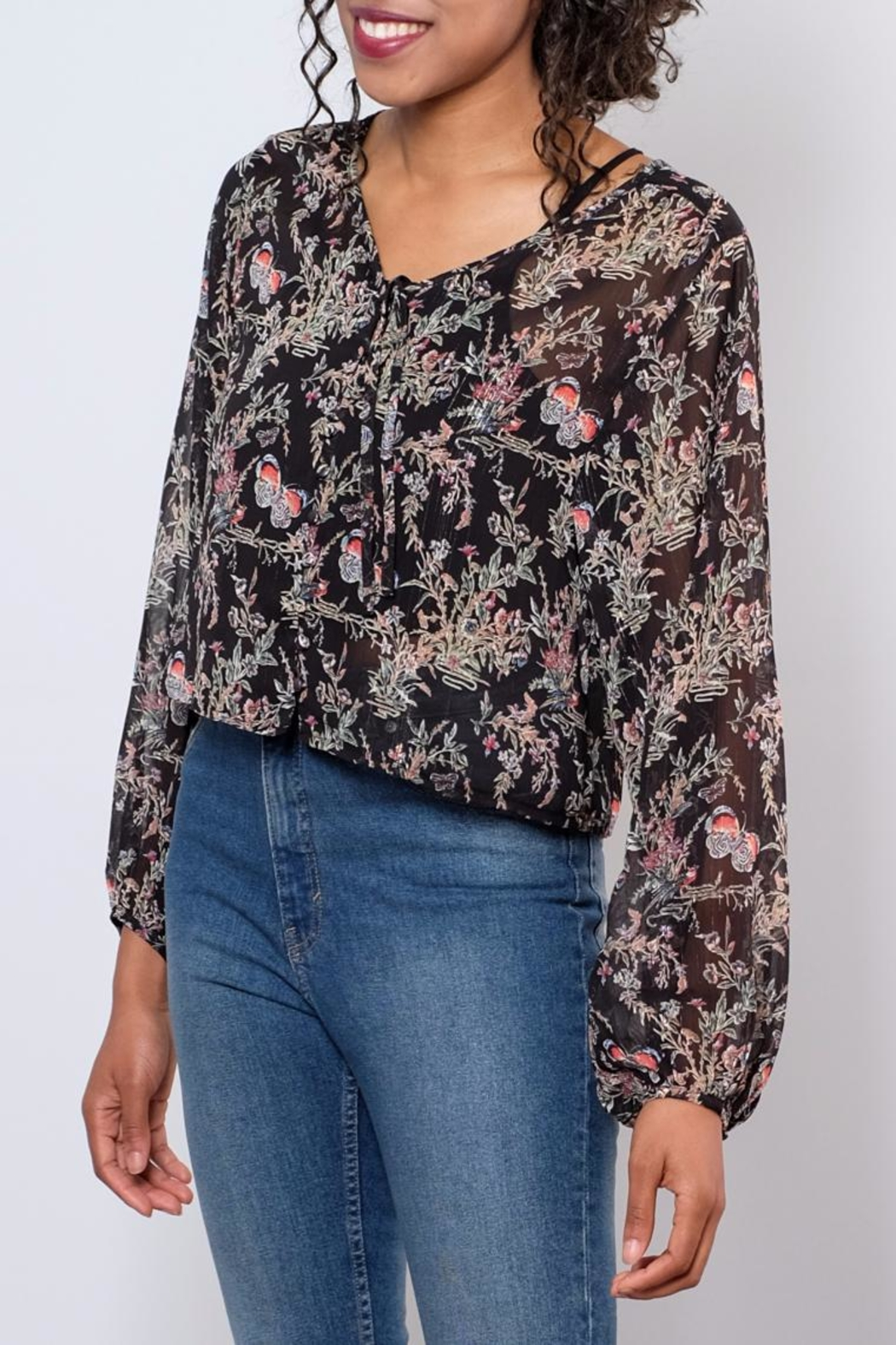 LoveRiche Sheer Printed Top - Front Full Image