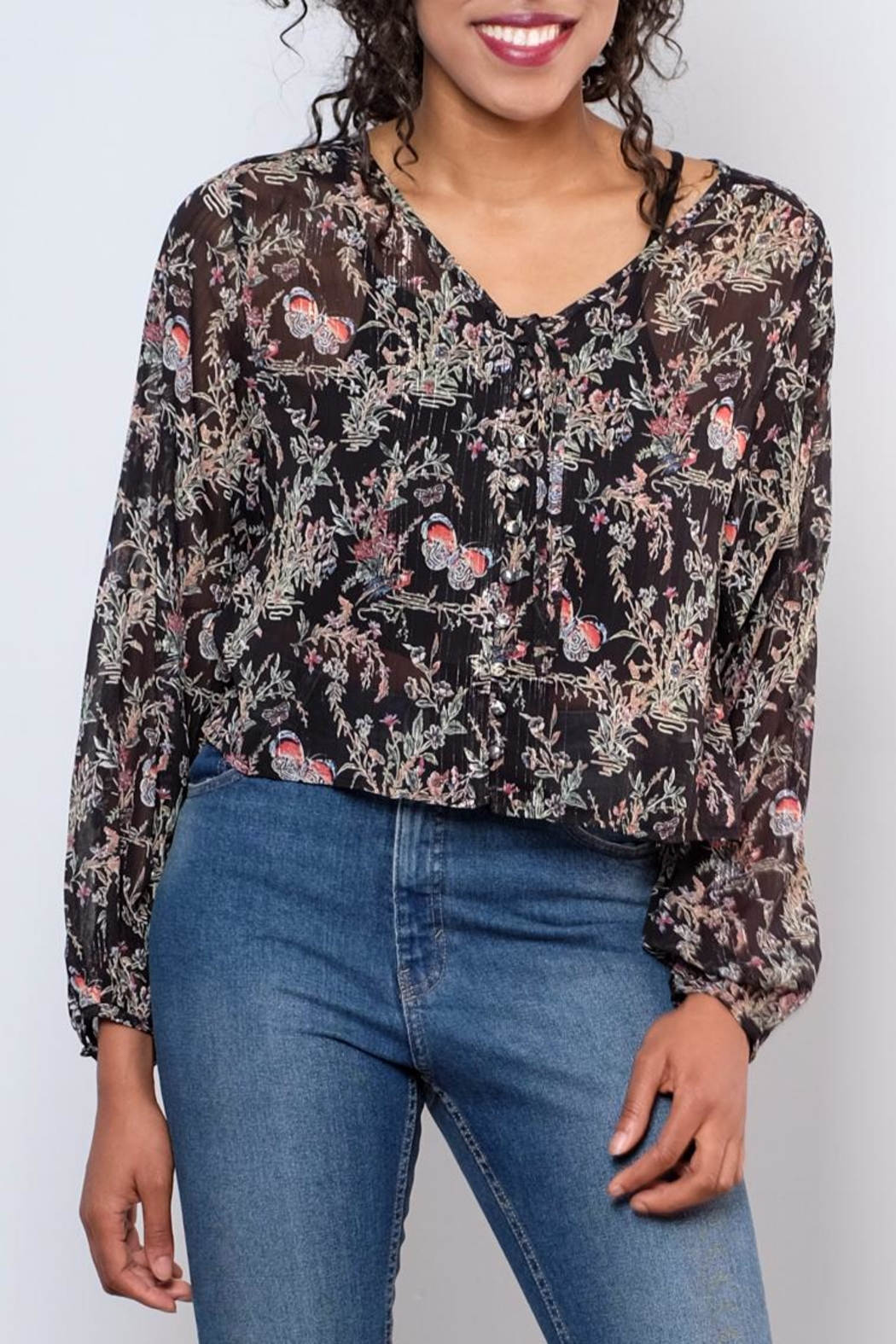 LoveRiche Sheer Printed Top - Main Image