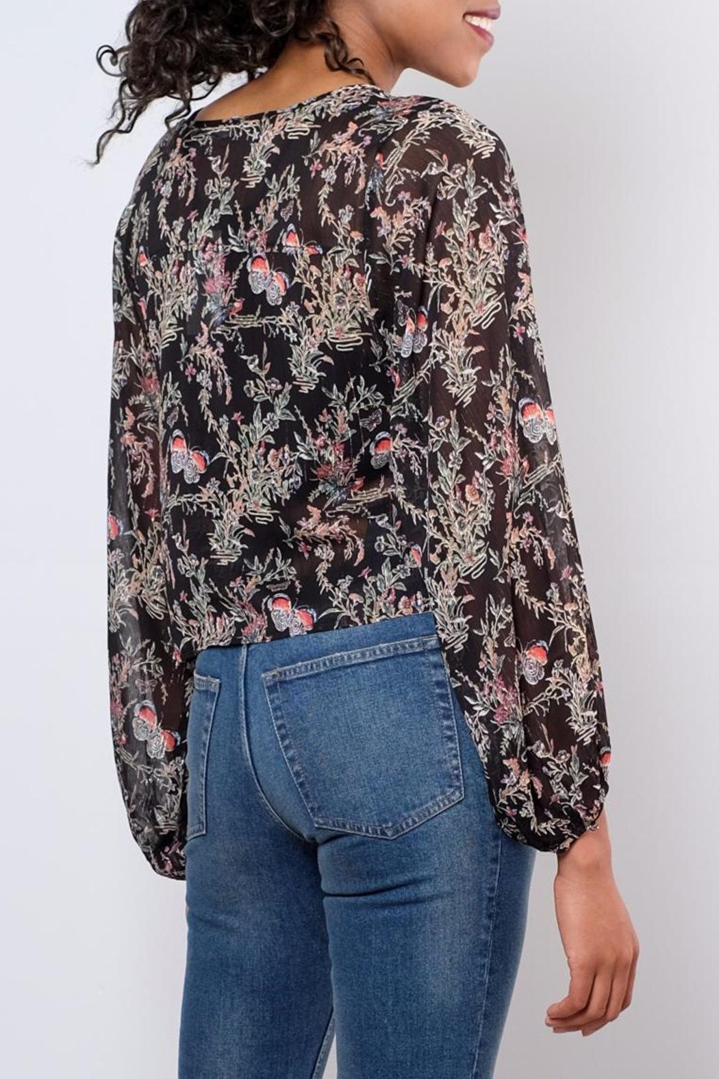 LoveRiche Sheer Printed Top - Side Cropped Image