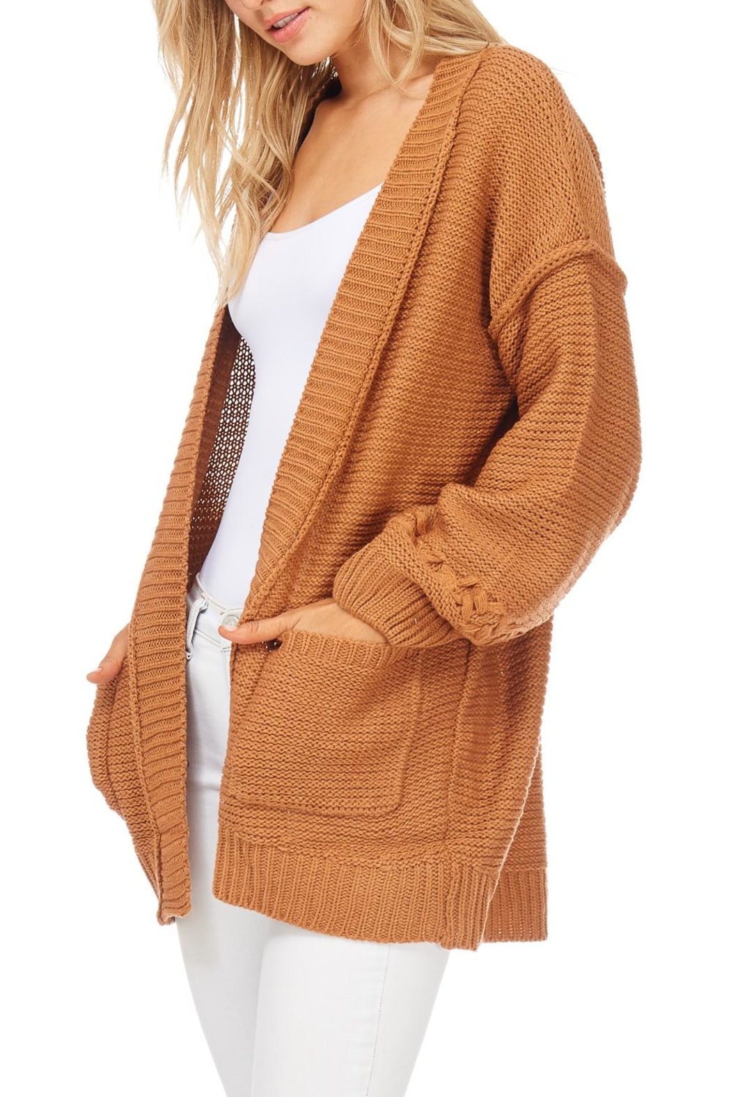 LoveRiche Solid Knit Sweater Cardigan - Side Cropped Image