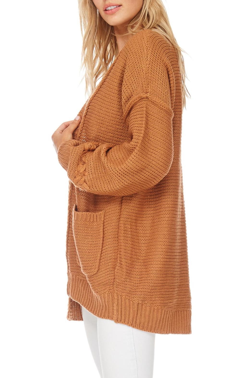 LoveRiche Solid Knit Sweater Cardigan - Back Cropped Image