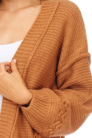 LoveRiche Solid Knit Sweater Cardigan - Front full body