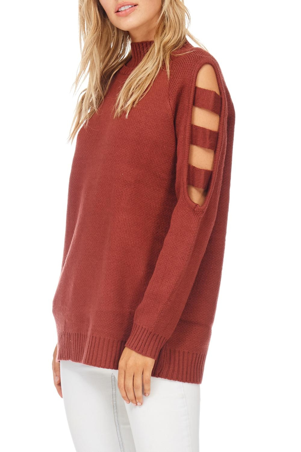 LoveRiche Solid Open Sleeve Sweater - Main Image