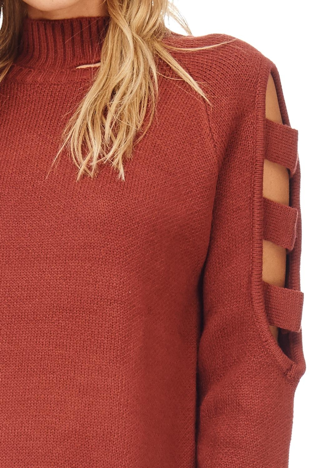 LoveRiche Solid Open Sleeve Sweater - Front Full Image