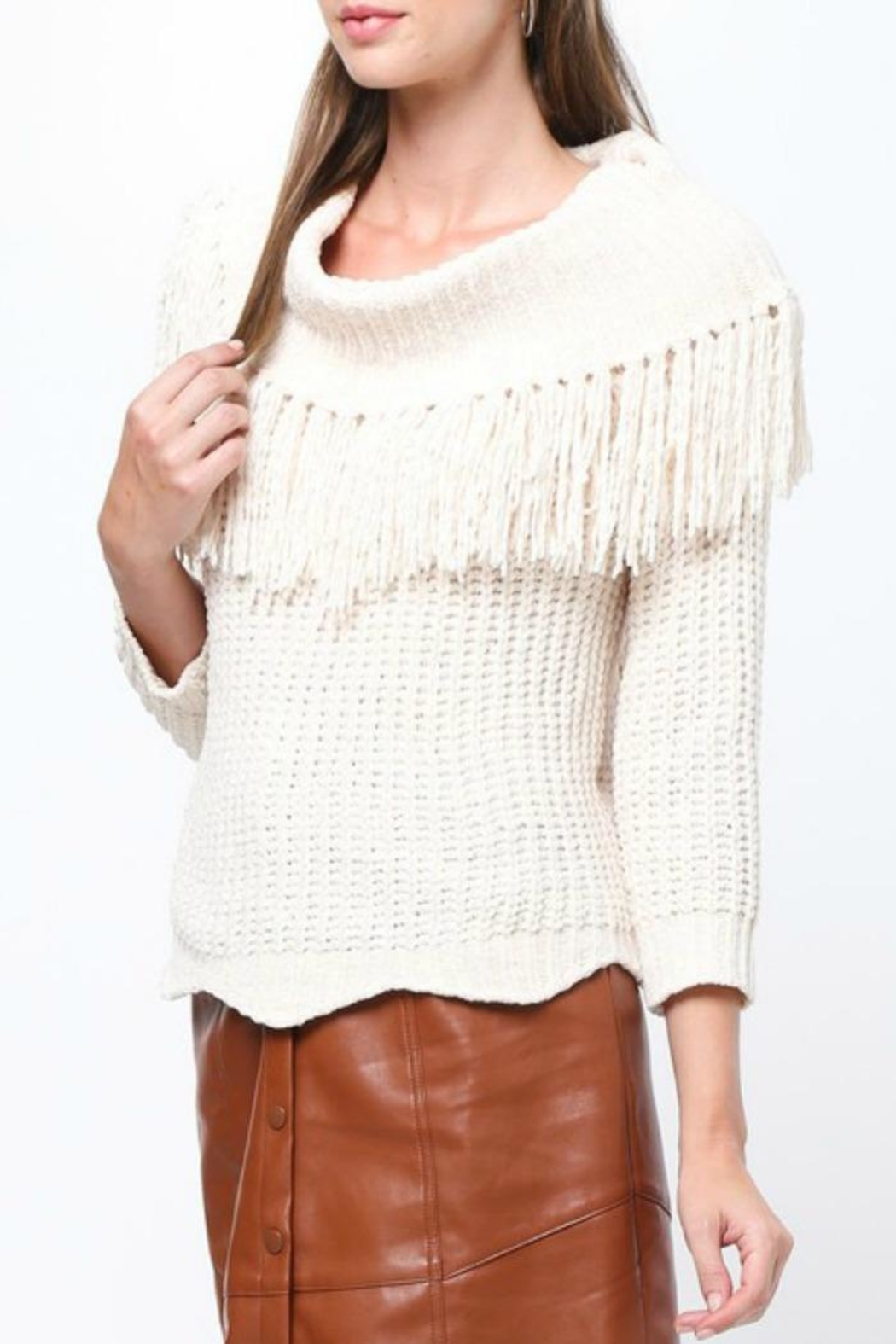 LoveRiche Stay Fringy Sweater - Front Full Image