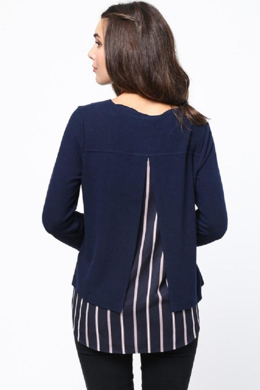 LoveRiche Stripe Combo Sweater - Side Cropped Image