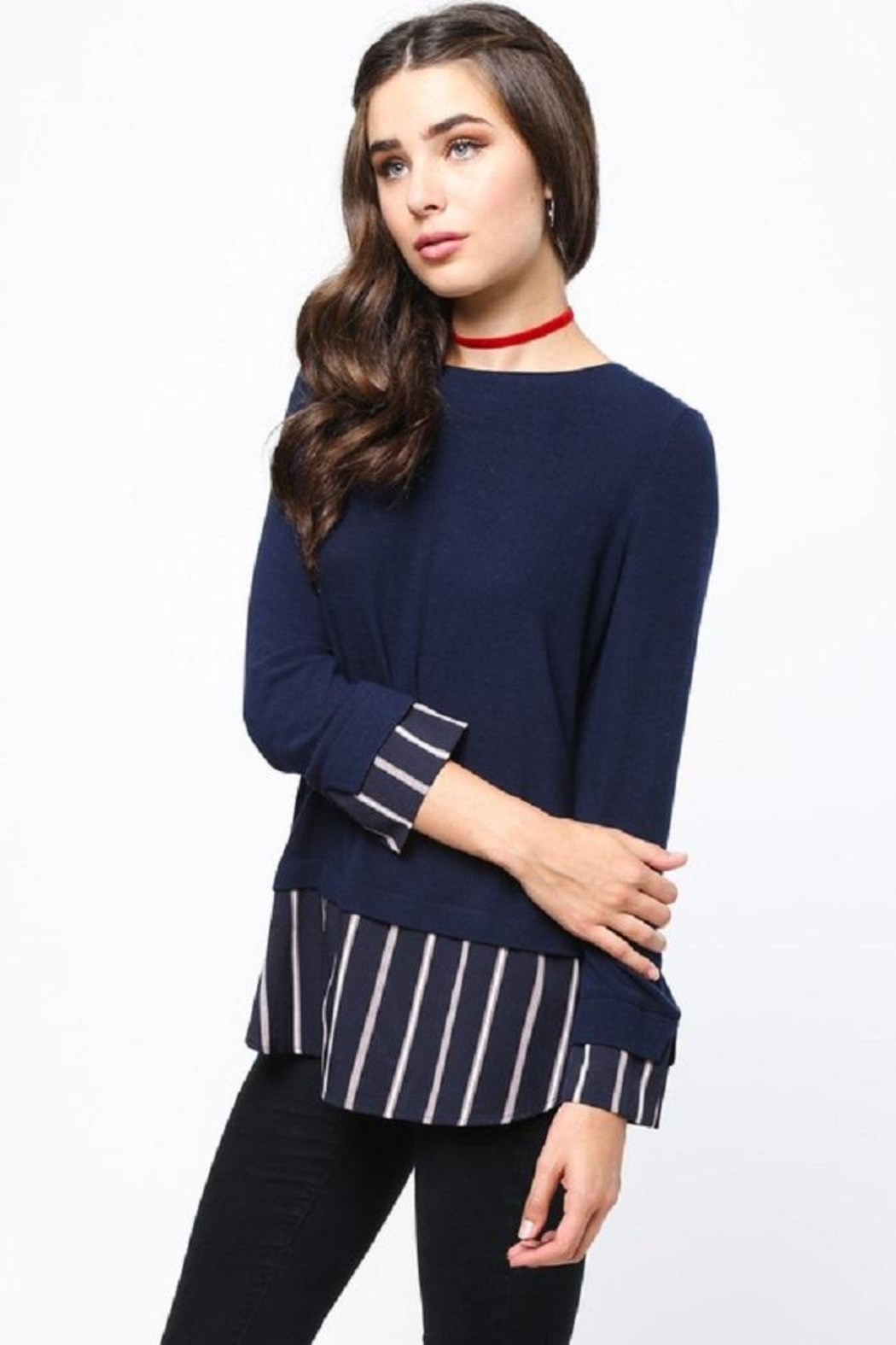 LoveRiche Stripe Combo Sweater - Front Full Image