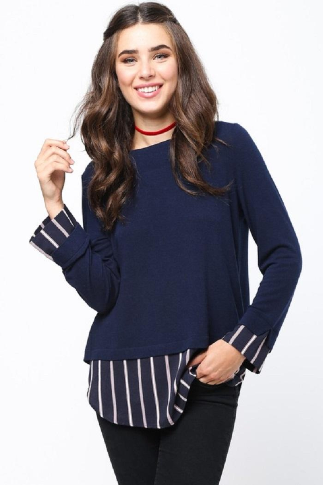 LoveRiche Stripe Combo Sweater - Front Cropped Image
