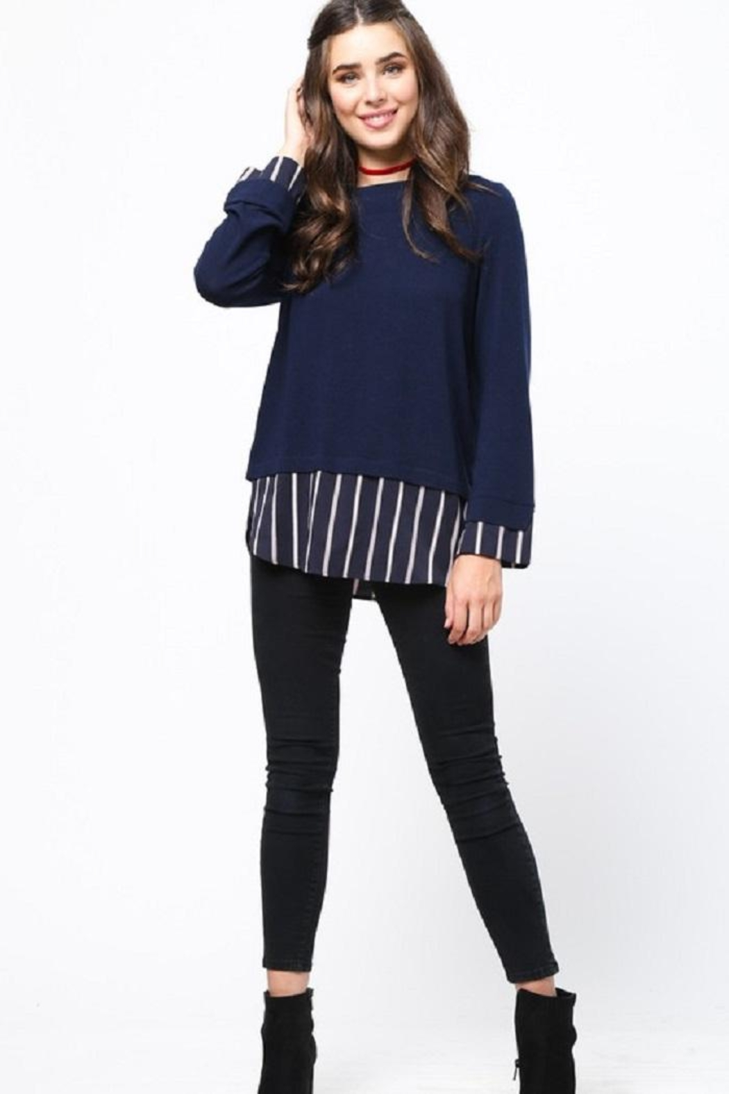 LoveRiche Stripe Combo Sweater - Back Cropped Image