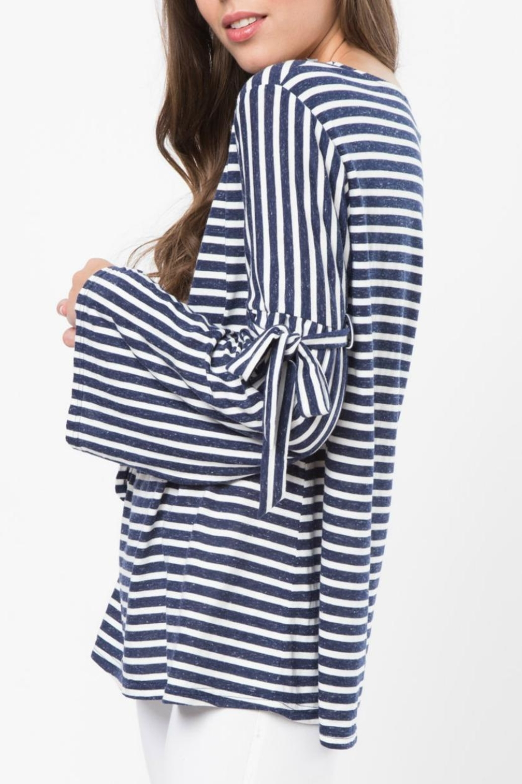 LoveRiche Stripe Tie Sleeve Top - Front Full Image