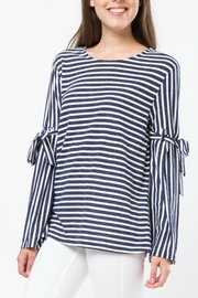 LoveRiche Stripe Tie Sleeve Top - Product Mini Image