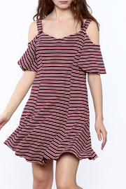 LoveRiche Striped Cold Shoulder Dress - Product Mini Image